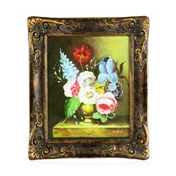 Antique Oil on Canvas Still Life Floral