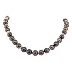 0.75 ctw Diamond and Tahitian Pearl Necklace - 14KT White Gold