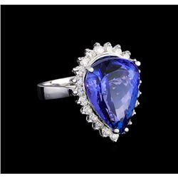 11.38 ctw Tanzanite and Diamond Ring - 14KT White Gold