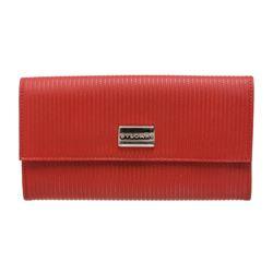 Bvlgari Red White Vinyl Leather Long Wallet