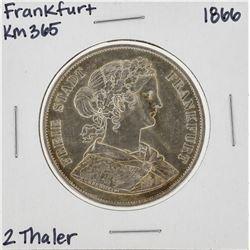 1866 2 Thaler Frankfurt KM365 Silver Coin
