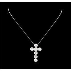 3.79 ctw Diamond Cross Pendant with Chain - 14KT White Gold