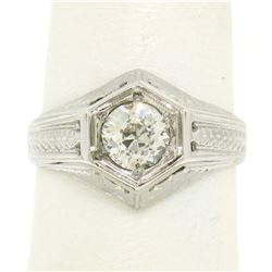 Art Deco Etched 18k White Gold .85 ctw European Cut Diamond Solitaire Ring
