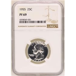 1955 Washington Quarter Proof Coin NGC PF69