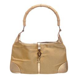 Gucci Metallic Gold Nylon Leather Bamboo Jackie Shoulder Bag