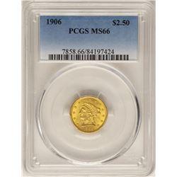 1906 $2 1/2 Liberty Head Quarter Eagle Gold Coin PCGS MS66