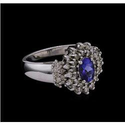 0.15 ctw Tanzanite and Diamond Ring - 14KT White Gold