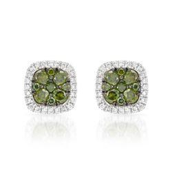 14k White Gold 0.50CTW Diamond and Green Dia Earrings, (SI/H)