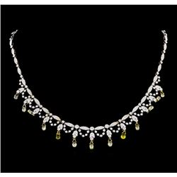 4.83 ctw Diamond and Yellow Sapphire Necklace - 18KT White Gold