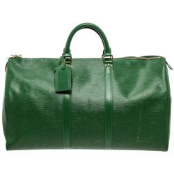 Louis Vuitton Green Epi Leather Keepall 55 cm Duffle Bag Luggage