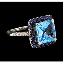 4.05 ctw Blue Topaz, Sapphire, and Diamond Ring - 14KT White Gold