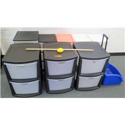 Multiple Misc Sized Plastic Storage Drawers