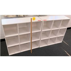 Qty 2 White Wood 9 Compartment Shelf