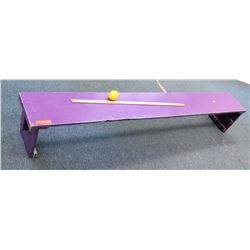 Long Purple Wooden Bench