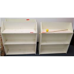 Qty 3 White Wood 3 Tier Shelves