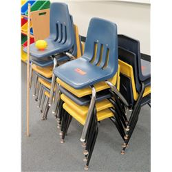 Qty 4 Stacks Plastic & Metal Chairs