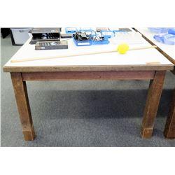 """Wood Table w/ White Top 44.5""""L x 38""""W x 22.5""""H"""