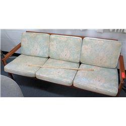 Wood Frame w/ Floral Upholstered Sofa