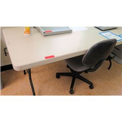 White Plastic Folding Table w/ Rolling Chair