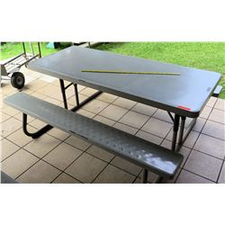 Brown Lifetime Plastic & Metal Picnic Table