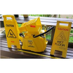 Plastic Mop Bucket & 2 Wet Floor Sandwich Signs