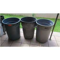 Qty 3 Full Size Gray Plastic Garbage Cans