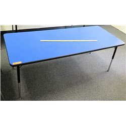 Adjustable Metal Table w/ Blue Top