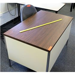 Wood & Metal Desk w/ Rolling Chair