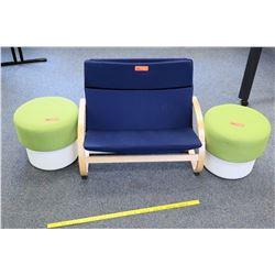 Wood w/ Blue Cushion Chair & 2 Stools