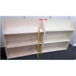 Qty 2 White Wood 2 Tier Shelves