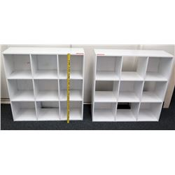Qty 2 White Wood 9 Compartment Shelf