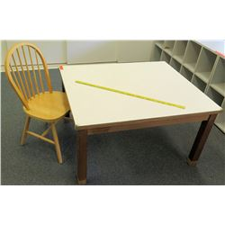 "Wood Table 44.5""L x 38""W x 22.5""H w/ Chair"