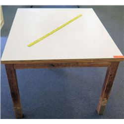 Wooden Table w/ White Top 44.5 L x 38 W x 30 H