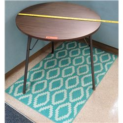 Round Wood & Metal Table w/ Area Rug