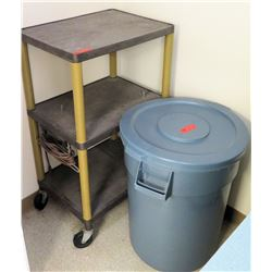 Rolling 2 Tier Storage Shelf & Lidded Garbage Can