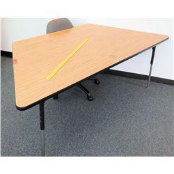 Wood & Metal Corner Table & Rolling Chair