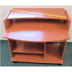 Wood Rounded Desk w/ Bottom Shelves