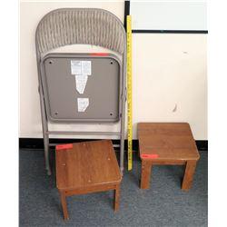 Folding Metal Chair & 2 Wood Stools