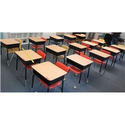 Qty 15 Wood & Metal Desks w/ Chairs