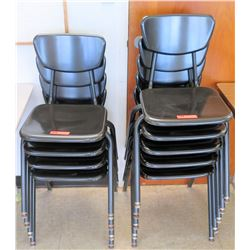 Qty 2 Stacks Plastic & Metal Chairs