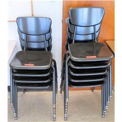 Qty 9 Plastic & Metal Chairs