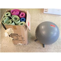 Qty 8 Exercise Mats & Ball
