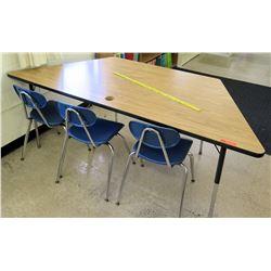 Wood Corner Table w/ 3 Chairs