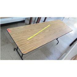 Long Wood & Metal Folding Table