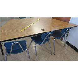 Wood & Metal Corner Table w/ 3 Chairs