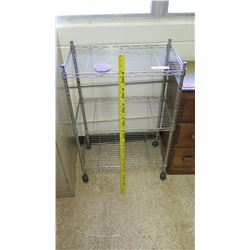 Metal Wire 2 Tier Rolling Cart