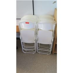 Qty 24 White Plastic Folding Chairs