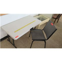 White Plastic Folding Table w/ Chair