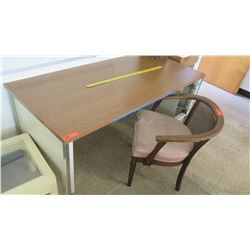 Wood & Metal Desk w/ Rattan Arm Chair