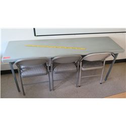 Metal Folding Table w/ 3 Folding Chairs
